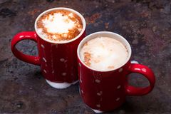 Two coffee cups for lovers prepare for morning coffee with copy blank space Stock Photo