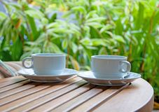 Two Coffee Cups on nature background Royalty Free Stock Images