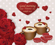 Two coffee cups and red velvet macaroons on hearts background. Romantic roses love. Valentines Day card Royalty Free Stock Photos