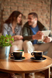 Two coffee cups on the table Stock Photo