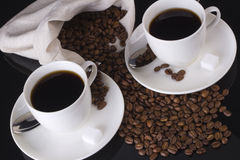 Two coffee cups, top view Royalty Free Stock Image