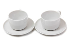 Two coffee cups on white Stock Photo