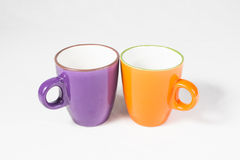 Two coffee mugs 01. Two coffee mugs on with background Stock Images