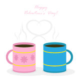 Two coffee mugs. Pink and blue coffee mugs with heart  on white background, illustration Royalty Free Stock Photo