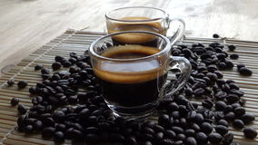 Two coffees in coffee bar aroma stock footage