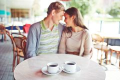 Two coffees. Porcelain cups with black coffee on background of affectionate valentines Royalty Free Stock Photography