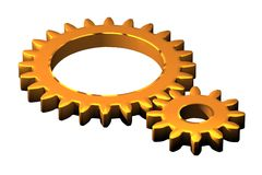 Two cogs illustrated Royalty Free Stock Photo