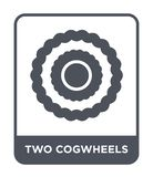 two cogwheels icon in trendy design style. two cogwheels icon isolated on white background. two cogwheels vector icon simple and vector illustration