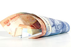Two Coiled South African Bank Notes on White Royalty Free Stock Photos