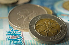 Two coins of Hong Kong dollars Stock Image