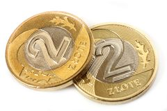 Two coins - Polish currency Stock Image