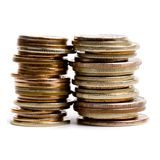 Two coins stacks Royalty Free Stock Photo