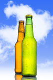 Two Cold frosted beer in green and golden brown bottle frosted and tempting Royalty Free Stock Images