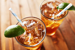 Two cold glasses of iced tea Stock Photos