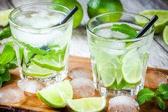 Two cold mojitos cocktail Royalty Free Stock Images