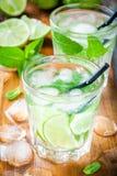 Two cold mojitos cocktail Stock Photos
