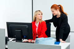 Two colleague worker in office with computer Stock Image