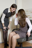 Two colleagues discuss gossip.  Office people Stock Photo