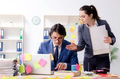 The two colleagues employees working in the office royalty free stock photos