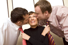 Two colleagues kissing  businesswoman Royalty Free Stock Images