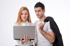 Two colleagues with laptop Stock Photos