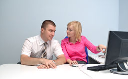 Two colleagues to monitor Stock Photo