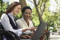 Two Colleagues Using Laptop On Park Bench Royalty Free Stock Image