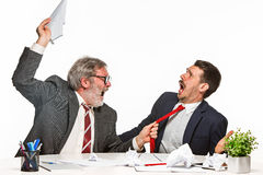 The two colleagues working together at office on white background. Royalty Free Stock Images