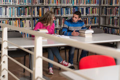 Two College Students In Library Reading Books Royalty Free Stock Images