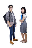 Two college students in studio Stock Photo