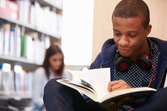 Two College Students Studying In Library Royalty Free Stock Photos