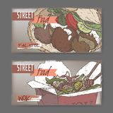 Two color banners with falafel and wok sketch on grunge background Stock Photos