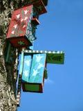 Two color bird houses stock photos