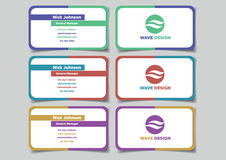 Two Color Business Name Card Set Vector Design Stock Photo