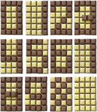 From two-color chocolate generate all 10 digits Stock Photography
