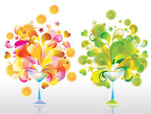 Two Color cocktails. Two Color cocktail with great splash, orange and lime Stock Photo