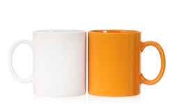 Two color coffee cups Stock Photo