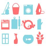 Two-color icons of house cleaning Stock Photo