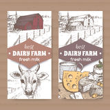 Two color labels with barn, cow, cheese, cup on white. Stock Photography