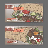 Two color landscape banners with doner kebab and shawarma. Royalty Free Stock Photography