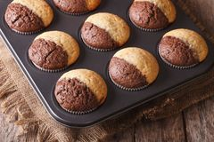 Two-color muffins in baking dish closeup. Horizontal Stock Images