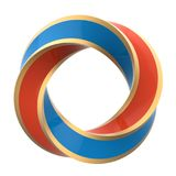 Two color orange and blue twisted ring. With gold frame isolated on white background. 3D illustration Stock Images