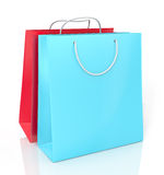 Two color paper shopping bags Royalty Free Stock Photography