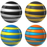 Two color sliced spheres. Sign vector template. Glossy cut color balls isolated on white background vector illustration