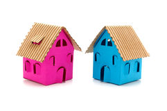 two color small houses Stock Images