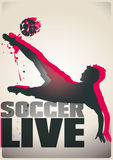 Two-color soccer poster. Two-colour poster of a soccer player kicking a soccer ball. Text: Soccer live stock illustration