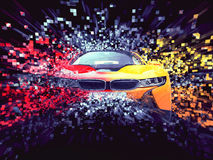 Two color sports car - abstract pixel destruction Stock Photos
