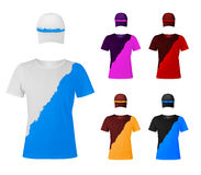 Two-color t-shirts with hats. Stock Images