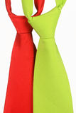 Two color ties on a white background. Red and green tie on a white background Stock Photos