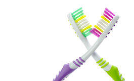 Two color toothbrushes Royalty Free Stock Image